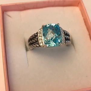 DAVID YURMAN PETITE WHEATON RING WITH BLUE TOPAZ